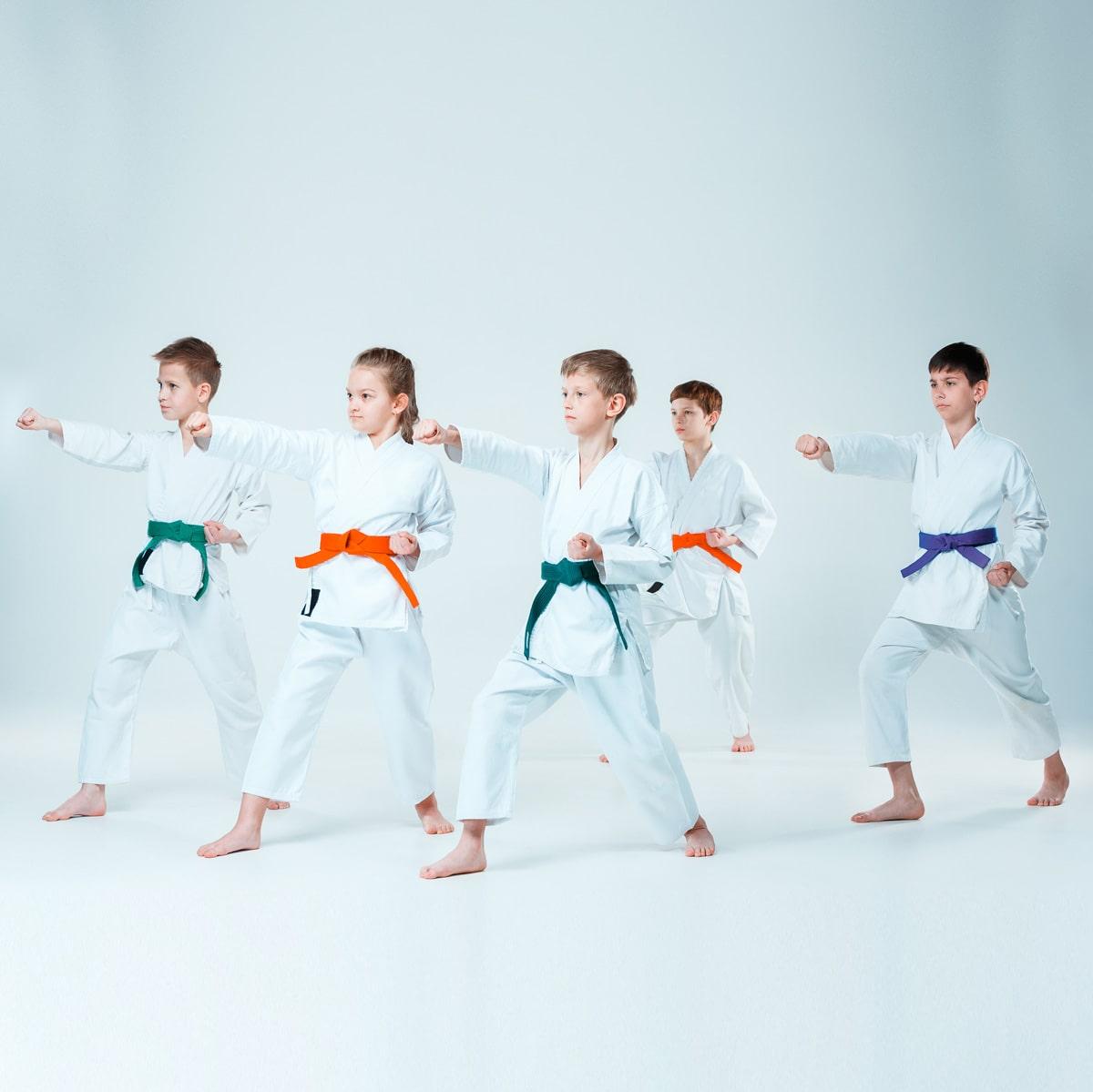 Kids doing Karate at Dojo